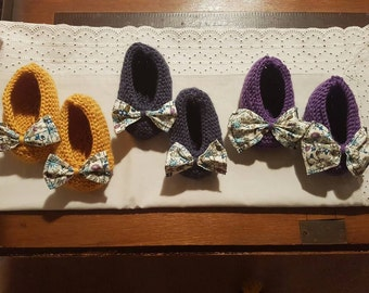 Floral bow slippers