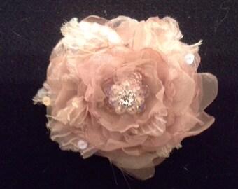 Shabby chic rosey pinks handmade flower, glass beads,rhinestones,wedding sashes, hair accessories etc...  s