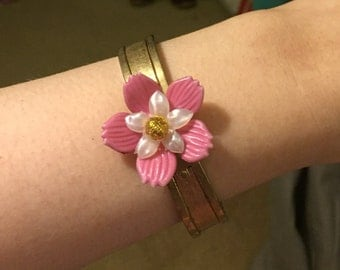 Pink and White Flower on Golden Hinged Bracelet