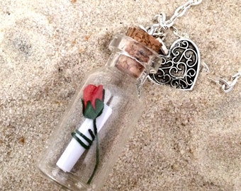 heart message in a bottle necklace, personalised necklace, love note necklace, rose necklace, proposal jewellery, valentines day gift