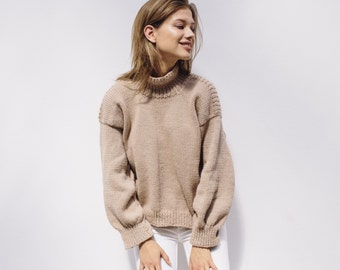 OVERSIZED TAUPE SWEATER - hand knitted chunky wool turtleneck sweater