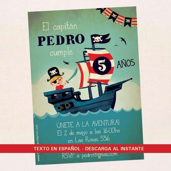 Items Similar To Pirate Invitation In Spanish. Birthday