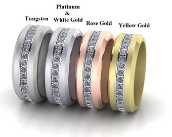 Eternity Diamond Mens Wedding band ring 1.02 Carats G SI2 Tungsten, Platinum, 14K White, Rose, and Yellow Gold