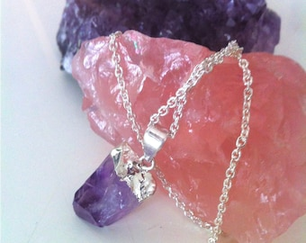 Raw Amethyst Pendant Necklace on Sterling Silver Chain