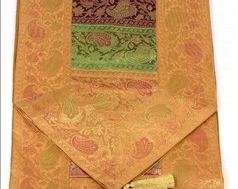 Indian Silk Table Runner in Striped Design and Golden Color Border Size 17x62 inches