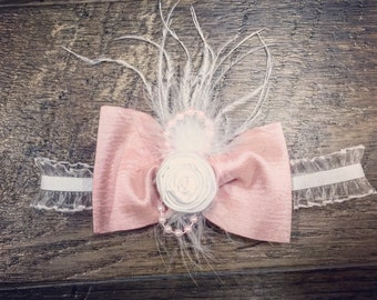 Pale Pink Feather Bow