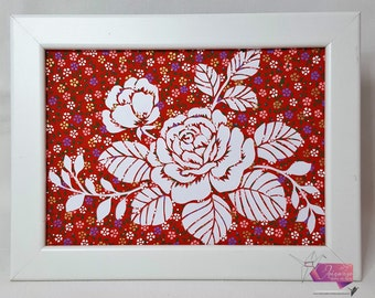 Roses in red papercut or been kirigami flowery washi paper hand