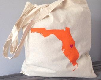 Florida Orlando Hand Painted Canvas bag. Wedding gift idea, Holiday bag, Canvas tote bag, Map on canvas bag, Disney holiday  vacation bag