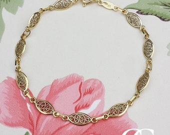 "9ct Yellow Gold Filigree Oval Bracelet 7"""