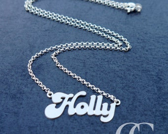 "SOLID Sterling Silver 'Holly' Monogram Name Necklace with 18"" Belcher Chain"