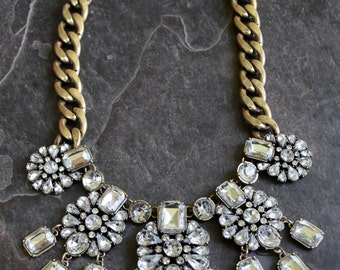 """Designer Inspired Bronze Multiple Crystal Drop Bib 16"""" Statement Necklace with 2"""" extender Great for Special Occasions!"""