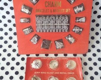 C.1960's~Toy~Charm Bracelet & Necklace Set~Plastic~Original Packaging~Metal Tone Color