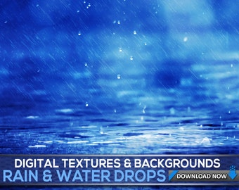 60 Water & Rain Textures And Backgrounds - Water Photoshop Overlays, Water Textures, Water Backdrops, Digital Background, Digital Backdrop