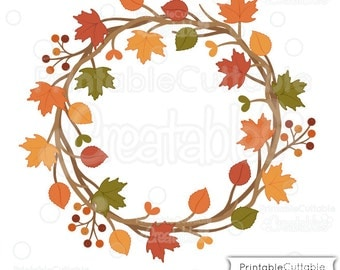 Autumn Wreath SVG Cut File & Clipart E206 - Includes Limited Commercial Use!