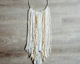 Jae Dream Wall hanging , ivory, white yarn and gold paint dipped feathers