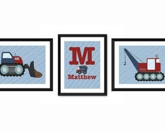 Construction wall art print, Construction personalized print, Nursery print,  children's personalized print, Children's birthday
