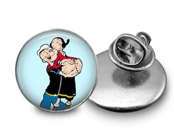 Popeye the sailor and Olive Oil  Tie Tack 16mm Tie Pin Lapel pin