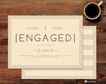 Modern Latte Engagement Party Invitations - modern, simple, lettering, formal, classy, elegant, book, story, coffee, frappe, template