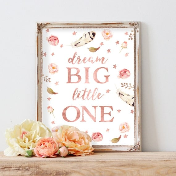 Dream Big Little One Girl, Floral Feather Nursery Decor, Tribal Girl Nursery Art, Boho Coral Nursery, Rose Gold Nursery, Blush Nursery Print