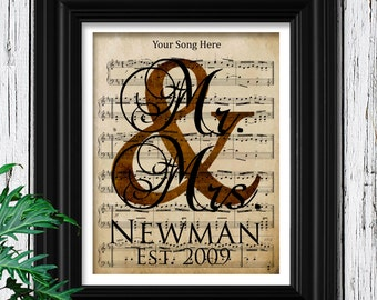 8th ANNIVERSARY BRONZE Gift for Him | Custom Sheet Music Art | 100% Cotton Art Paper | Bronze Art Anniversary Gift | 8th Bronze Gift for Him