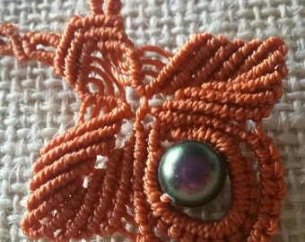 Russet and Pearl Necklace in Swarovski macrame