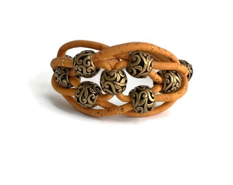 Cork bracelet, cork jewelry, Portuguese cork, orange cork, bronze beads, unique gift, OOAK bracelet, vegan jewelry, vegan bracelet
