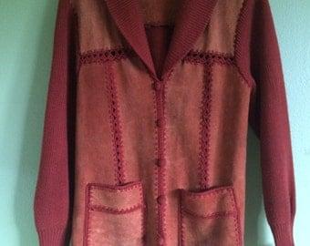 vintage suede 1970's button up jacket