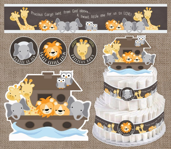 Baby shower decorations noah 39 s ark diaper cake for Noah s ark decorations