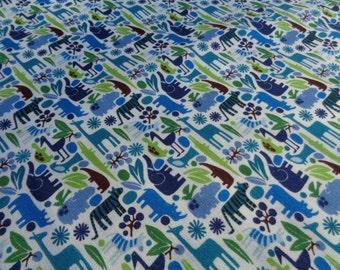 Alexander Henry Fabric / Blues and Greens / Teeny Tiny Zoo / Baby Animal Boy Fabric / 1 yard cut