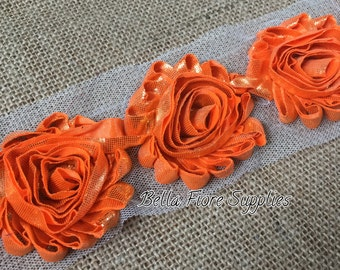 Shiny Orange Gold Shabby Chiffon Rose Trim-2.5 inch- Shabby Chiffon Flowers- Halloween Shabby Trim- Wholesale-DIY Headband Supplies
