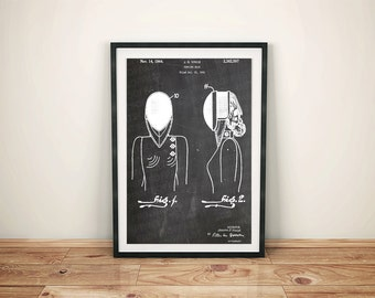 Fencing Mask Patent Art Poster