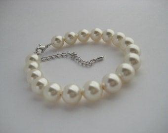 Classic Bridal Cream Pearl Bracelet Wedding Cream Pearl Bracelet Swarovski Pearl Wedding Jewelry