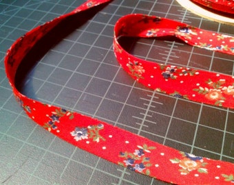Red Floral Bias Trim 3 yards with white polka dots, pink and blue flowers, folded in half, bias tape, 5/8 inch, sale price