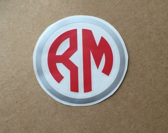 Two Initial Circle Monogram Decal with Border