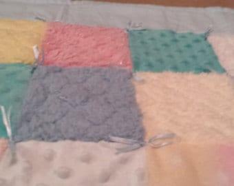 Blue yellow green baby blanket