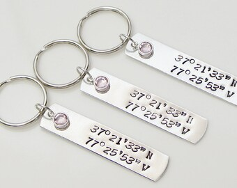 Customized Keychain. Latitude Longitude Keychain. Personalized Gift. Gift For Her, For Him. Hand Stamped.