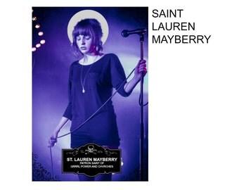 Saint Lauren Mayberry of Chvrches Digital Art Print Prayer Candle Label Shrine Oddity Witch