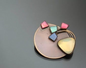 Modernist Paste Brooch. 80's Colorful Geometric Pin.