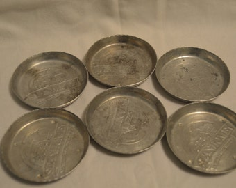 Stanley Home Products Stanhome Aluminum Coasters or Ashtrays Vintage Item #3960  ON SALE NOW!!