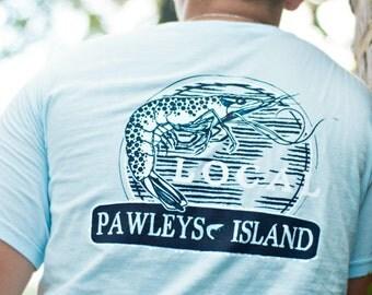SHRIMP Pawleys Island South Carolina T Shirt, Comfort Colors, Adult Sizes S up to 2XL