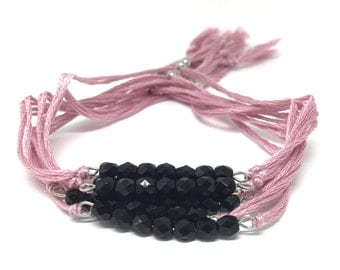 Adjustable bracelet with pearls of Bohemia and cotton, Collection Jaydana, powder Bracelet black and pink