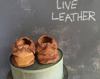 Upcycled leather moccasins