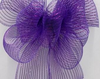 Purple Mesh Bow