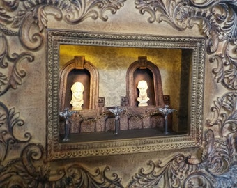 Staring Statues - LIGHTED - Haunted Mansion Collection, Disney, Pop Art, 3D, Shadowbox, Original, One-of-a-Kind, Made to order, Handmade