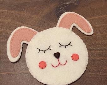 2 Handmade felt coasters - felt bunny coasters - felt rabbit coasters - set of 2