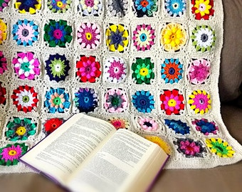 Crochet flower blanket throw flower afghan Boho throw blanket hippie blanket flower mown pram blanket colorful bedspread READY TO SHIP