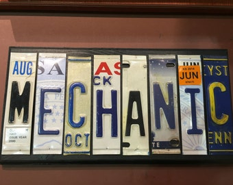 Mechanic.  Sign. License plate sign. Room decor