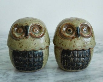 Midcentury Salt and Pepper Owls. Retro - Vintage. Made in Japan.