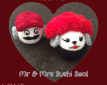 Amigurumi crochet: Made to order Sushi Seal (Pair)