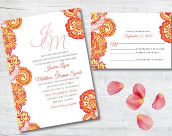 Orange Watercolor Wedding Invitation, Orange Wedding Invitation, Paisley Wedding Invitation, Indian Wedding Invitation, Watercolor, Deposit
